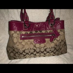 Coach Handbag Fuschia/ brown 9 by 14